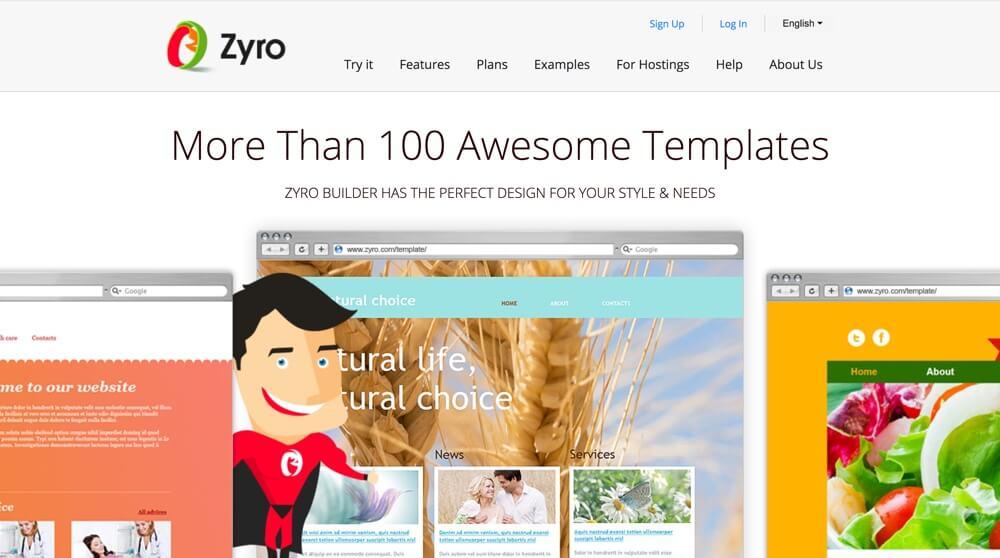 Zyro website builder homepage screen shot